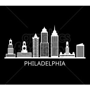 philadelphia city skyline vector with label on black