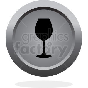 wine glass button vector