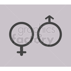 male and female vector icons on gray background