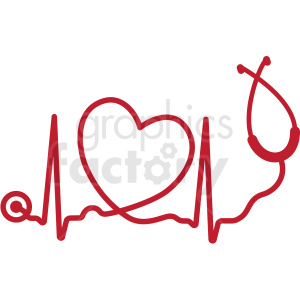 heartbeat with heart stethoscope svg cut file