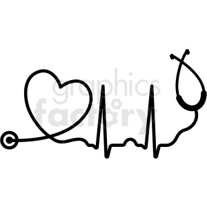 heartbeat stethoscope svg cut file clipart. Commercial use image # 409230