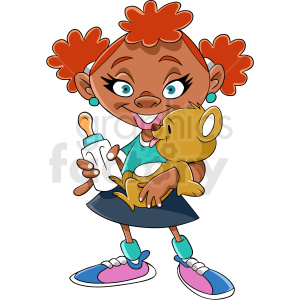 African American girl cartoon clipart. Commercial use image # 409266