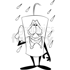 black and white cartoon dynamite character happy for the rain clipart. Royalty-free image # 409301