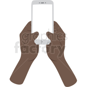 two african american hands texting on phone vector clipart no background