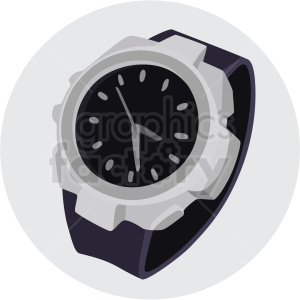 wrist watch grey circle background clipart. Royalty-free image # 409469