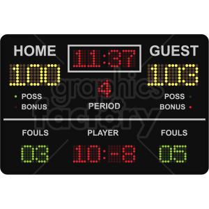 basketball scoreboard vector clipart clipart. Commercial use image # 409552