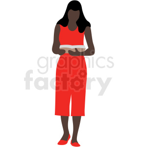 african american woman reading a book vector clipart clipart. Royalty-free image # 409635