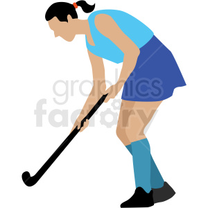 girl playing field hockey vector clipart clipart. Royalty-free image # 409659