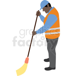 black man sweeping construction site vector clipart clipart. Royalty-free icon # 409664
