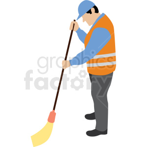 white man sweeping construction site vector clipart clipart. Royalty-free image # 409674