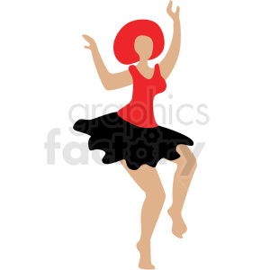 cartoon red hair woman dancing vector clipart