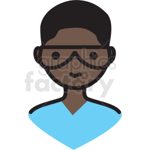 black boy nerd avatar vector clipart