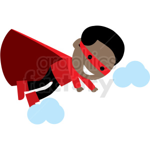 cartoon african american hero flying vector clipart clipart. Commercial use image # 409960