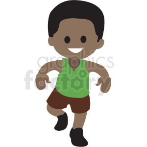 cartoon African American boy dancing clipart. Royalty-free image # 409971