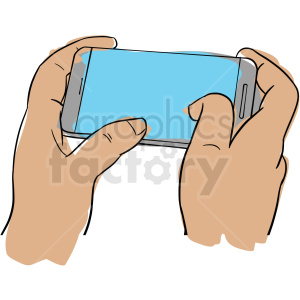 hands holding cell phone clipart. Royalty-free image # 409994
