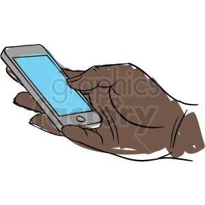 black hand holding cell phone clipart. Royalty-free image # 409995