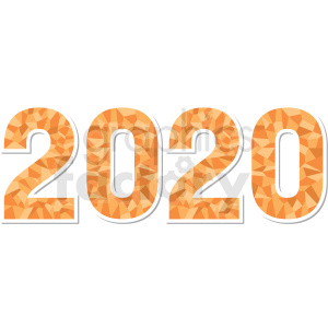 yellow 2020 new year clipart clipart. Commercial use image # 410026