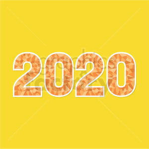 2020 new year clipart yellow background clipart. Commercial use image # 410045