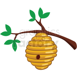 cartoon beehive in tree vector clipart no background