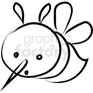cartoon bee drawing vector icon