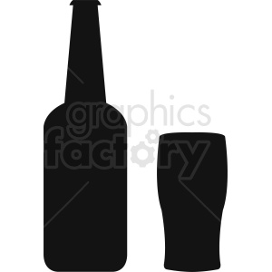 bottle with glass silhouette clipart