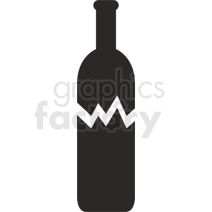 broken wine bottle silhouette vector clipart. Commercial use image # 410312