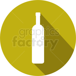 clipart - wine bottle on yellow circle icon.