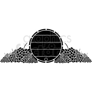 barrel of wine black and white grapes clipart. Commercial use image # 410335
