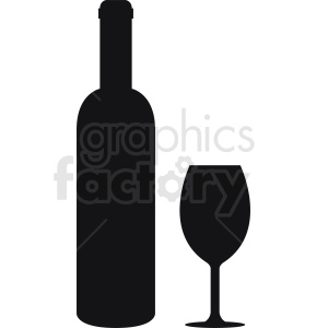 bottle of wine with glass silhouette clipart. Commercial use image # 410337