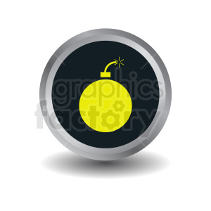 yellow bomb on circle button icon clipart. Commercial use image # 410380