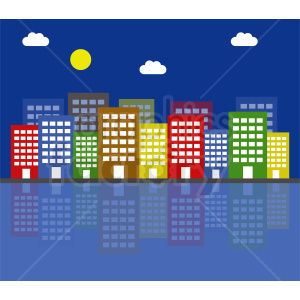 cartoon city night scene vector clipart. Commercial use image # 410435