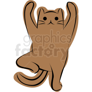cartoon cat doing yoga standing pose vector clipart. Commercial use image # 410637