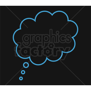 blue speech bubble outline vector clipart on black background clipart. Commercial use image # 410858