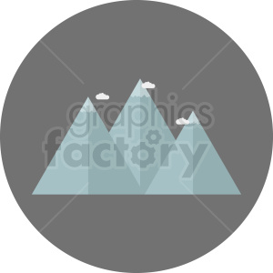 blue mountain with clouds clipart on circle background clipart. Commercial use image # 410955