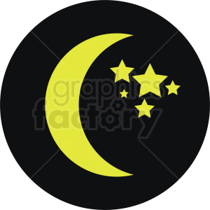 moon vector icon on black circle background clipart. Commercial use image # 410957