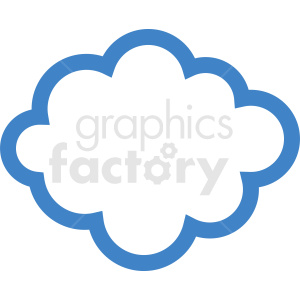 blue outline cloud vector clipart. Royalty-free image # 410963