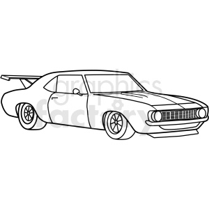 vintage challenger race car vector outline clipart. Commercial use image # 411171