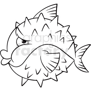 black white cartoon pufferfish clipart