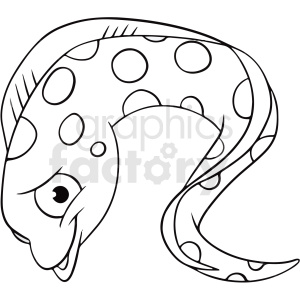 black white cartoon eel clipart clipart. Commercial use image # 411438
