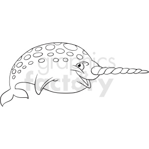 black white cartoon narwhal vector clipart clipart. Commercial use image # 411444