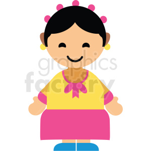 Korea female character icon vector clipart clipart. Commercial use image # 411615