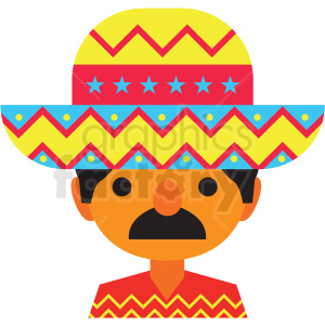 mexican man wearing hat vector clipart clipart. Royalty-free image # 411634