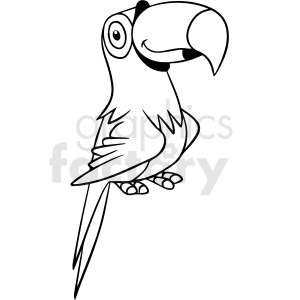 cartoon parrot black white vector clipart clipart. Commercial use image # 411645