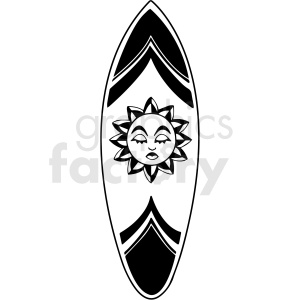 black and white surfboard vector clipart clipart. Royalty-free image # 411765