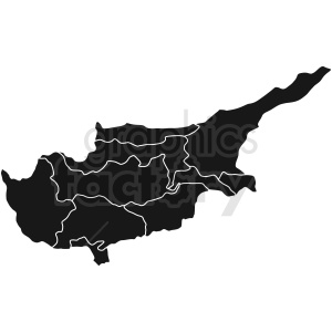 cipro map regions black vector clipart. Royalty-free image # 412187