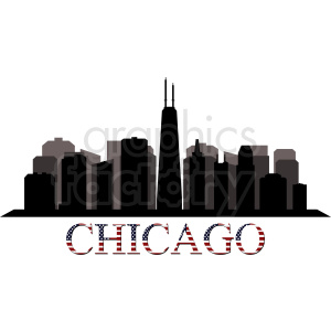 Chicago city skyline vector with title clipart. Commercial use image # 412219