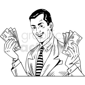 black white vintage man holding money vector clipart clipart. Royalty-free image # 412539