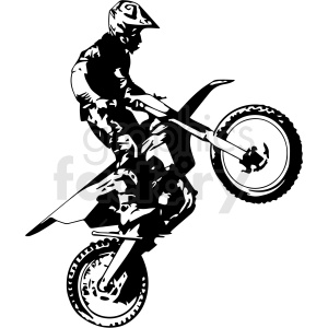 black and white motocross rider doing wheelie vector illustration clipart. Commercial use image # 412605