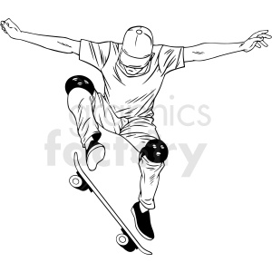 black and white skateboarder doing ollie vector illustration clipart. Commercial use image # 412609