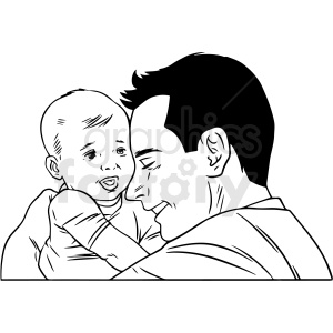 black white man hugging baby vector clipart clipart. Commercial use image # 412651